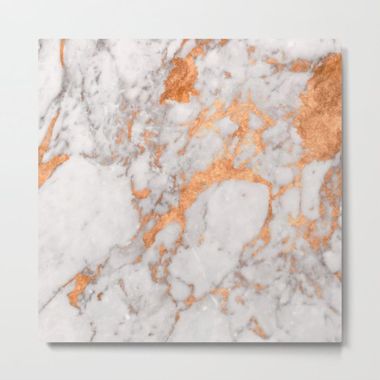 Copper Marble Metal Print
