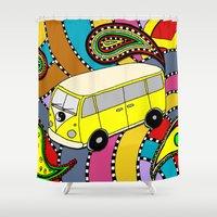 vw bus Shower Curtains featuring Trippy VW-Style Love Bus Campervan - Yellow by Carrie at Dendryad Art