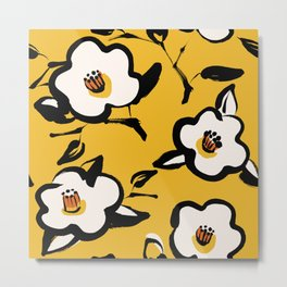 Floral Vintage yellow pattern with sketchy hand drawn flowers and leaves of Camellia plant.  Metal Print