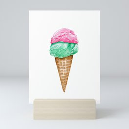 Strawberry and Mint Ice Cream in Watercolor Mini Art Print