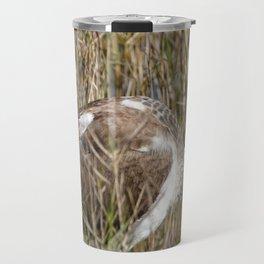 Juvenile White Ibis Foraging by Lake Travel Mug