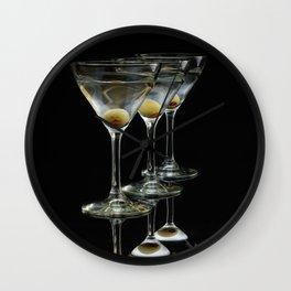 Three Martini's and three olives.  Wall Clock