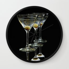 Three Martini's and three olives.  Wall Clock