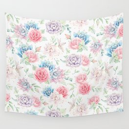 Blush pink teal watercolor hand painted cactus flowers Wall Tapestry