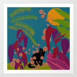 Black Cat In The Outside World Art Print