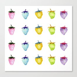 Rainbow watercolor strawberries Canvas Print