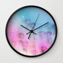 Pretty Pink Roses Wall Clock