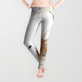 Delicate Brown Feather Seamless Pattern Leggings