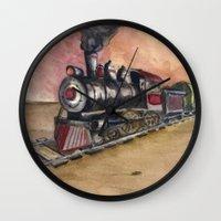 southwest Wall Clocks featuring Southwest Journey by Jeff Moser Watercolorist
