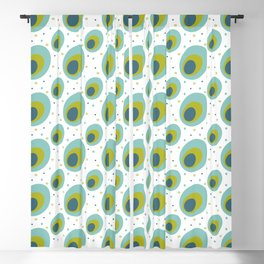 Peacock Colors Mid Century Pattern Blackout Curtain