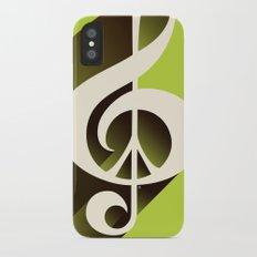 Lime Green Retro Music & Peace  Slim Case iPhone X