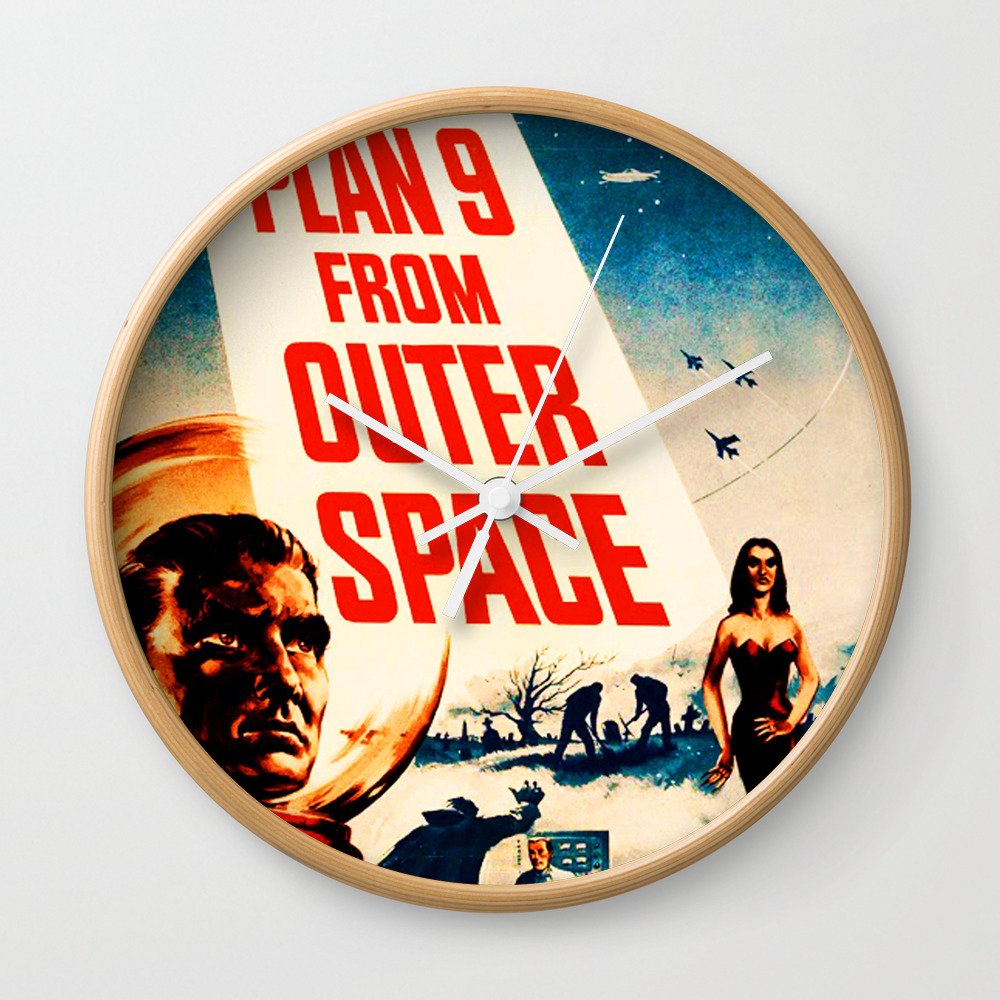 Plan 9 From Outer Space, Vintage Movie Poster Wall Clock by Alma_design CLK7728536