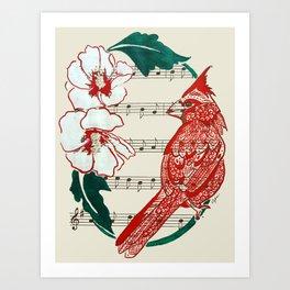 The Birds Chorus  ( Cardinal and Rose of Sharon) Art Print