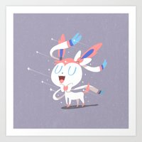 sylveon Art Prints featuring Sylveon by Rod Perich