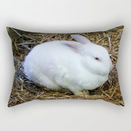 White Bunny Rectangular Pillow