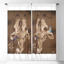 Giraffe with Bird Blackout Curtain