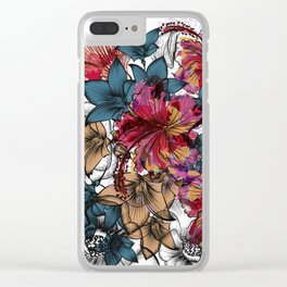 Tropical pattern with hibiscus flowers. Hawaii style watercolor Clear iPhone Case