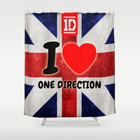 one direction Shower Curtains featuring ONE DIRECTION by Bilqis