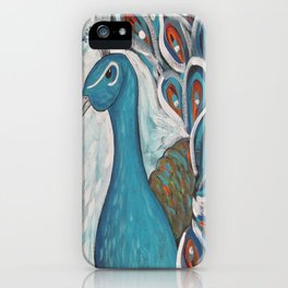 Blue Peacock with Blue iPhone Case