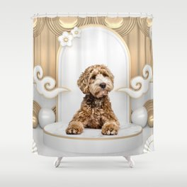 Goldendoodle Golden Background Photo Collage Shower Curtain