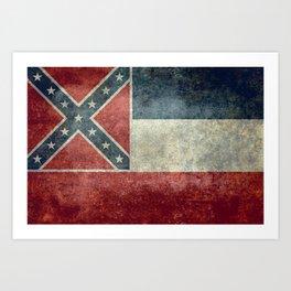 Mississippi State Flag in Distressed Grunge Art Print