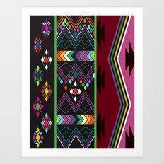 Aztec Central America Inspired Modern Geometric Design Art Print