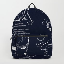 Maritime pattern- white fishing gear on darkblue background Backpack