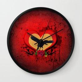 Wonderful crow on a heart Wall Clock