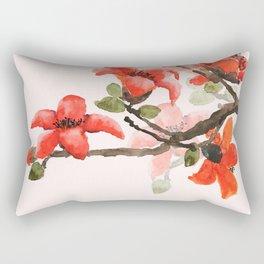 red orange kapok flowers watercolor Rectangular Pillow