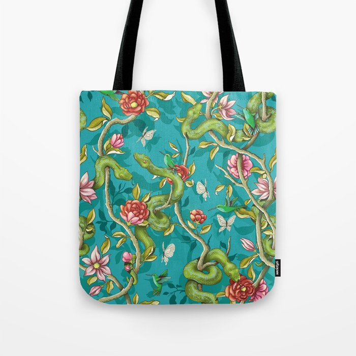 Morning Song - turquoise Tote Bag