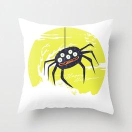 Creepy Spider In Halloween Design Throw Pillow