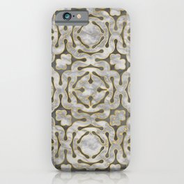 Grey and gold marble mosaic pattern iPhone Case