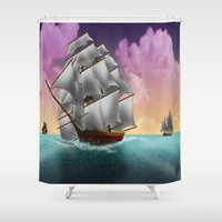 ships Shower Curtains featuring Rigged Ships by Yoly B. / Faythsrequiem