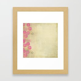 Woodland Fairytale: Wild rose border on light green (or yellow) Framed Art Print