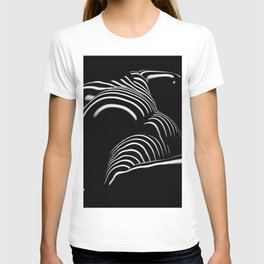 0758-AR BW Abstract Art Nude Striped T-shirt