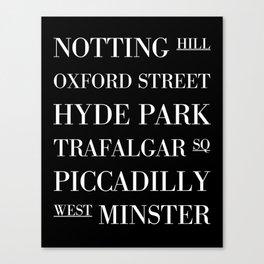 London Subway Sign - Typography Print Canvas Print