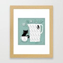 BLACK COFFEE CAT Framed Art Print