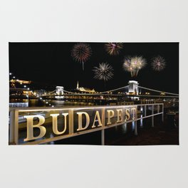 Chain bridge  with fireworks on Budapest city. Rug