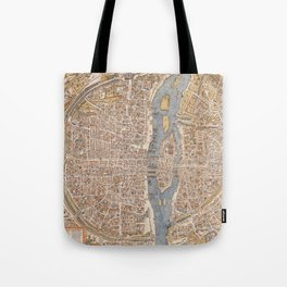 Vintage Map of Paris (1550) Tote Bag