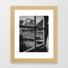 Through the Window (Black and White) Framed Art Print