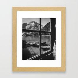 Through the Window (Black and White) Framed Art Print