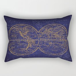 Antique Navigation World Map in Blue and Gold Rectangular Pillow