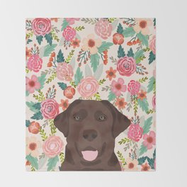 Chocolate Lab floral dog head cute labrador retriever must have pure breed dog gifts Throw Blanket