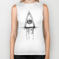 all seeing eye Biker Tanks featuring All Seeing Eye  by Emalee Røse