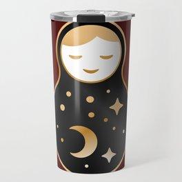 Russian doll matrioshka Babushka smiling Kawaii cute face, Stars, moon, constellation, night sky Travel Mug