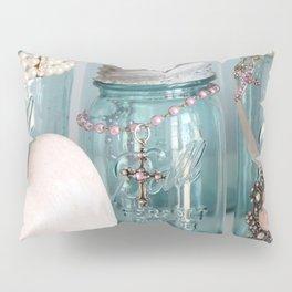 Vintage Mason Jars Shabby Chic Cottage Jeweled Decor Pillow Sham