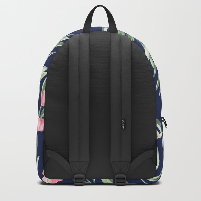 Delicate Hibiscus Blue Backpack