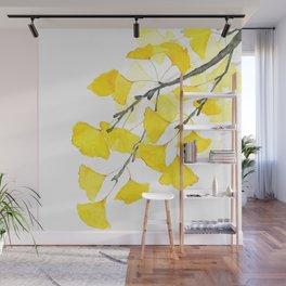 Golden Ginkgo Leaves Wall Mural