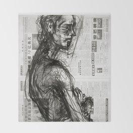 Waiting - Charcoal on Newspaper Figure Drawing Throw Blanket