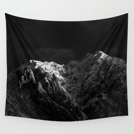 Sunlight hitting the mountains black and white Wall Tapestry